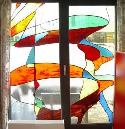 Voorpui woning glas in lood