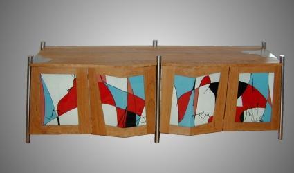 houten dressoir met gefusede panelen