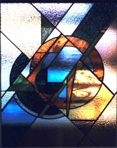 glas in lood cirkels en diagonalen