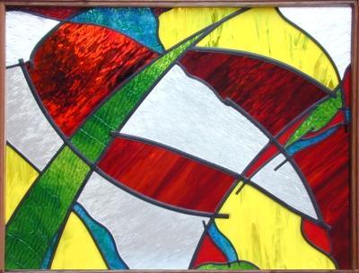 Glas in lood voorzetraam in meranti frame