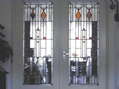 Kamer en suite deuren met glas in lood