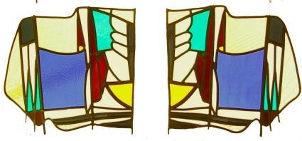 2 raamhangers, uitgevoerd in glas in lood