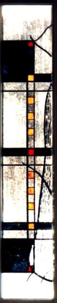 Decoratieve blokjes motief glas in lood tussendeur