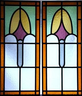 Glas in lood in oud motief van kathedraal glas