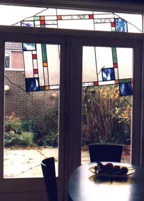 Decoratieve glas in lood ramen als zonlichtbreker,