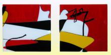 2 panelen gefused Bullseye glas