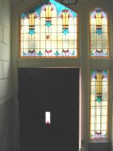 Hal in villa uitgevoerd glas in lood