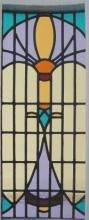 Iets rond staand glas in lood paneel
