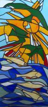 Decoratieve glas in lood tussendeur