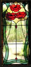 In art nouveau stijl uitgevoerd raam van echt antiek glas