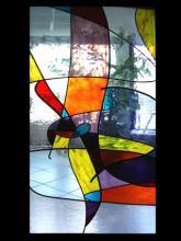 Schuifdeur van glas in lood