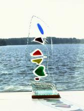 Glaskunst object van vlakglas applique