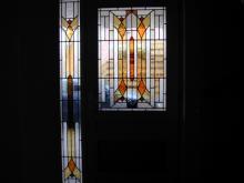 Glas in lood deur en zijlicht