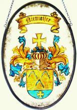 Familiewapen Niemeijer in gebrandschilderd glas in lood
