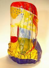 Object van gefused Bullseye glas met gebrandschilderde elementen