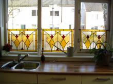 Drie voorzetramen uitgevoerd in diverse glassoorten