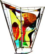 Glaskunst object van glas in lood met RvS