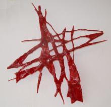 wanddecoratie gefused en gevormd rood Spectrum glas