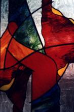 Decoratief glas in lood raam als enkelglas